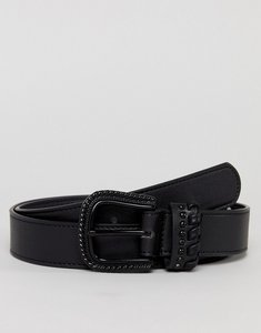 Read more about Asos slim faux leather belt in black with matte black western buckle - black
