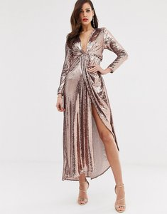 Read more about Asos edition plunge asymmetric maxi dress in sequin