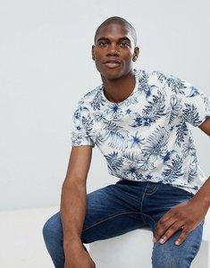Read more about Burton menswear floral print t-shirt in ecru - neutral