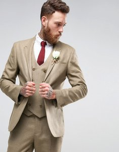 Read more about Asos wedding skinny suit jacket in taupe twist micro texture - oatmeal