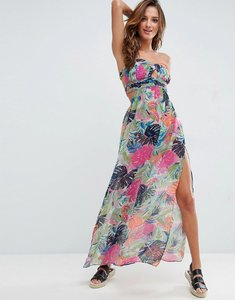 Read more about Asos chiffon ruched print bandeau maxi dress - multi