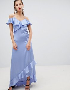 Read more about Y a s satin cold shoulder frill maxi dress - blue