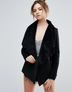 Read more about John jenn sienna faux shearling drape cardigan with ribbed sleeves - 001 caviar