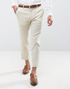Read more about Asos skinny cropped linen mix trousers in beige - beige
