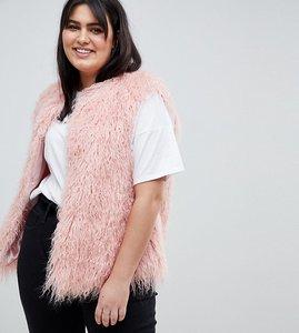 Read more about Asos design curve mongolian faux fur gilet - pink