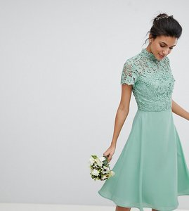 Read more about Chi chi london tall 2 in 1 high neck midi dress with crochet lace - green lily