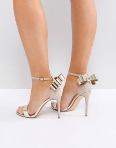 Read more about Office harriet gold mix bow detail heeled sandals - nude gold