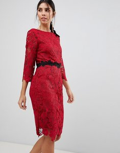 Read more about Paper dolls 3 4 sleeve belted lace pencil dress - red