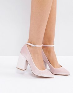 Read more about Asos pipeline pointed block high heels - pink velvet