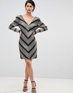 Read more about Forever unique chevron shift dress - silver gold