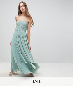 Read more about Y a s tall knot detail strapless maxi dress - green