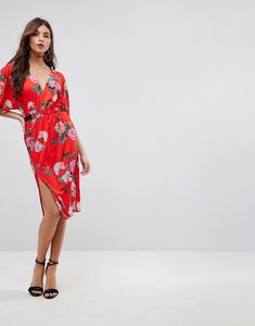 Read more about Asos v neck midi dress with elastic waist detail in red floral - red floral