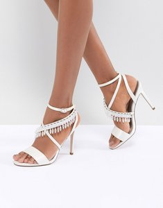 Read more about Asos design hydro bridal embellished heeled sandals - ivory satin