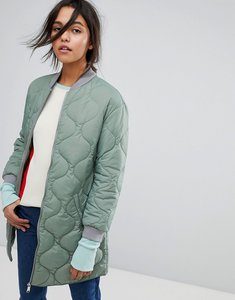 Read more about Max co quilted bomber jacket - green