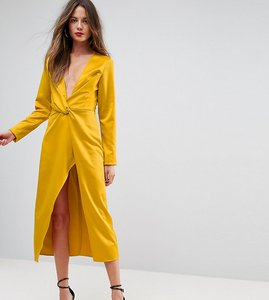 Read more about Ttya black midi wrap dress with knot front - mustard