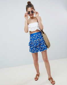 Read more about Asos design broderie frill mini skirt - blue