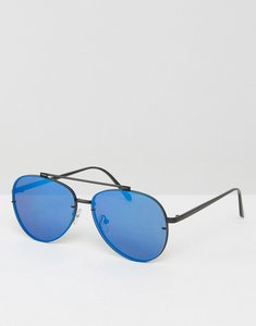 Read more about Asos aviator metal sunglasses in black with blue flash lens - black