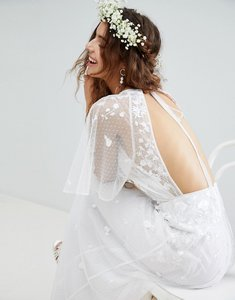 Read more about Asos edition embroidered flutter sleeve maxi wedding dress - white