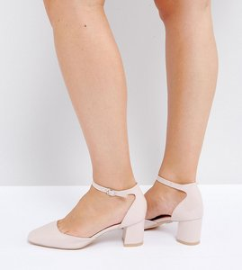 Read more about Lost ink wide fit mid heeled blush patent heeled shoes - light pink