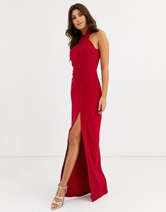 Read more about Vesper high neck maxi dress with thigh split in red