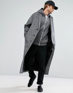 Read more about Asos wool mix long lined overcoat in prince of wales check - charcoal