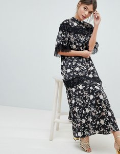 Read more about Liquorish floral maxi dress with lace trim and open back - multi