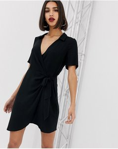Read more about Asos design wrap mini dress with collar