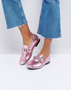 Read more about New look metallic t bar loafer - pink