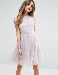 Read more about Asos premium lace tulle mini prom dress - lilac