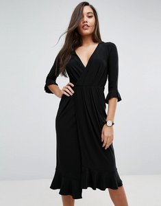 Read more about Asos wrap front midi dress with frill detail - black