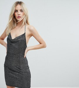 Read more about Naanaa petite cowl front glitter mini dress