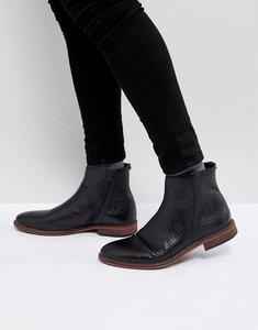 Read more about Asos chelsea boots in black leather with texture and zip detail - black