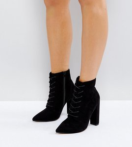 Read more about Asos electronic wide fit lace up heeled ankle boots - black