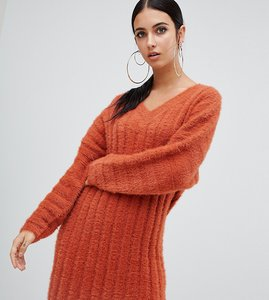 Read more about Missguided v neck fluffy knitted jumper dress