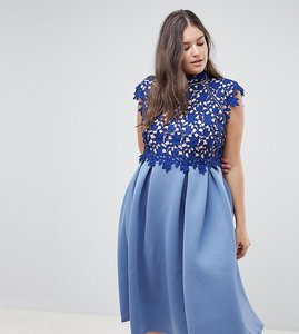Read more about Asos design curve heavy lace high neck prom dress - navy