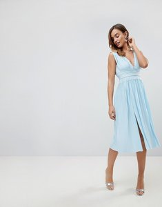 Read more about Asos premium lace insert pleated midi dress - blue