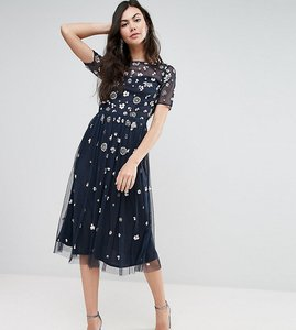 Read more about Maya tall floral 3d embellished midi dress - navy