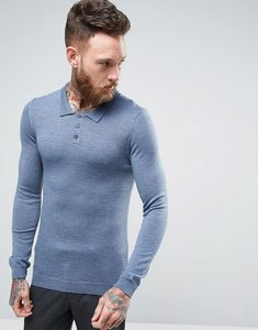 Read more about Asos merino knitted polo in muscle fit - denim twist