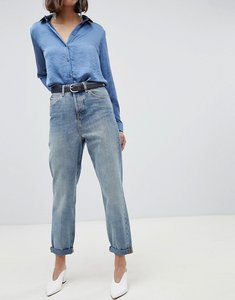 Read more about Asos design recycled ritson rigid mom jeans in aged light stonewash blue - light stonewash blue