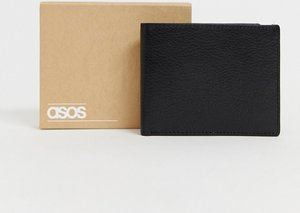 Read more about Asos leather wallet in black with internal coin purse - black