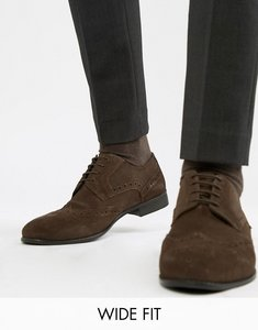 Read more about Kg by kurt geiger wide fit brogues in brown suede - brown