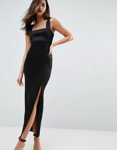 Read more about Asos design square neck scuba maxi dress with thigh split - black