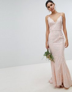 Read more about Chi chi london bridal premium lace maxi dress with fishtail in nude - nude