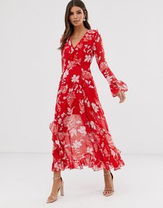 Read more about Asos design wrap maxi dress with frills in red floral print