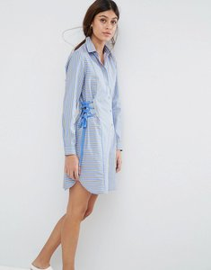 Read more about Asos striped shirt dress with corset detail - stripe