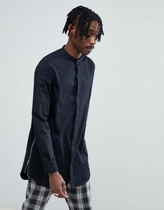 Read more about Asos regular fit super longline shirt with side zips - black