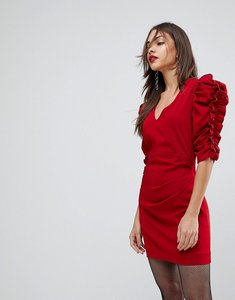 Read more about Mango red ruffle sleeve dress - red