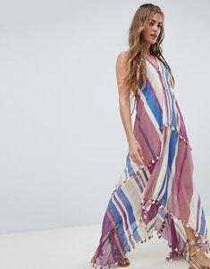 Read more about Aratta maxi cami dress with tassel trim in stripe - violet stripe