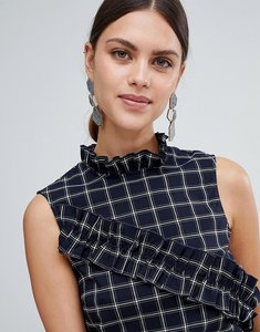 Read more about Y a s salu windowpane check ruffle front top - black check
