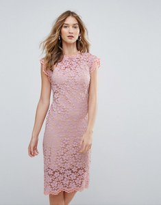 Read more about Traffic people high neck contrast lace overlay pencil dress - purple
